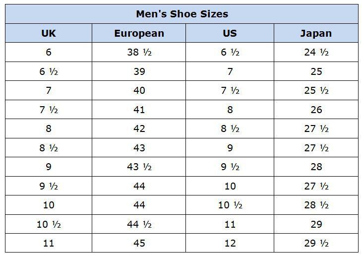 Image result for men's shoe size chart conversion